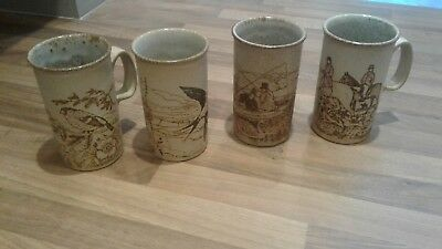 Vintage Dunoon Scotland Pottery Swallow Bird fishing horse Tall Latte Mug x 4