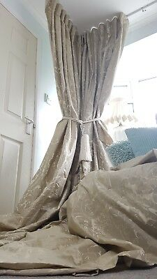 "NEW Heavy Bespoke French Damask Stone Gold 115"" Long 54"" Wide Lined Bay Curtains"