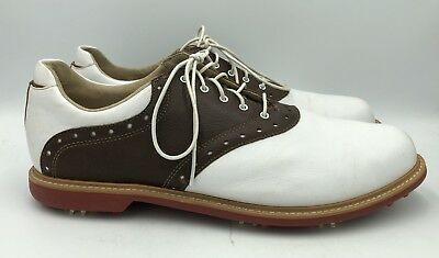 028c08adc120f ASHWORTH KINGSTON WHITE BROWN Golf Shoes Mens Size 12 -  23.99 ...