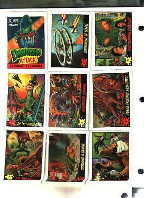 1988 TOPPS Dinosaurs Attack Trading Card Set 55 Cards PLUS 11 Stickers NEAR MINT