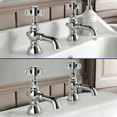 Phillip Bathroom Traditional Cross Bath Basin Taps Chrome Set Pair Hot & Cold
