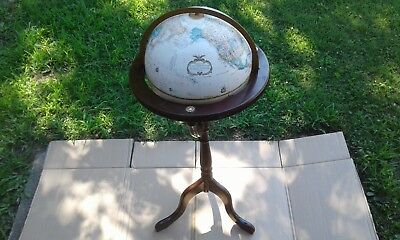 "Vintage Reploge 12"" Diameter World Classic Series Globe Solid Wood Stand Usa"