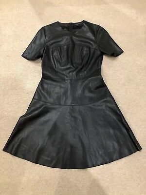 Sexy Zara Woman A Line Leather Look Black Dress Size M Or Uk 10 12