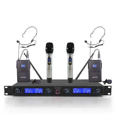 UHF 4 Channel Wireless Microphone System 2 Handheld Metal 2 Lapel Mic 2 Headsets