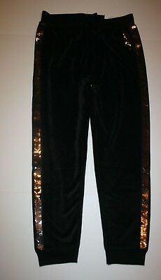 New Justice Girls 14 16 plus Pants Joggers Black Velour with Reversible Sequins