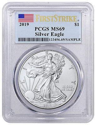 2019 1 oz American Silver Eagle $1 PCGS MS69 FS Flag Label SKU55798