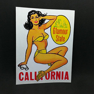 "California ""Glamour State"" Pinup Vintage Style Travel Decal, Vinyl Sticker"
