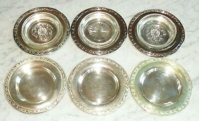 6 WmA Rogers Oneida Meadowbrook Bread & Butter Plate w Glass Coaster Inserts