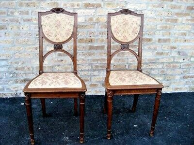 Pair of French, Antique,  Art Nouveau Side or Bedroom Chairs - Carved Walnut