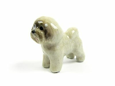 Miniature Ceramic Hand Painted Bichon Frise' Tiny Dog Figurine