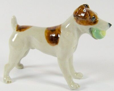 Miniature Ceramic Hand Painted Jack Russell with Ball Dog Figurine - White/Tan