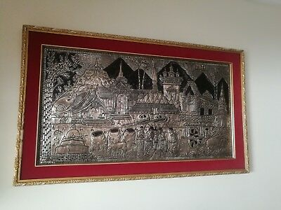 Laos Original painting.made from silver with hand made art work design
