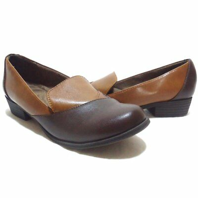 Natural Soul Vavo Two Tone Brown Comfort Loafer Shoes Size 7.5M