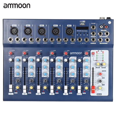 ammoon F7-USB 7-Channel Digital Mic Line Audio Sound Mixer Mixing Console S2X9