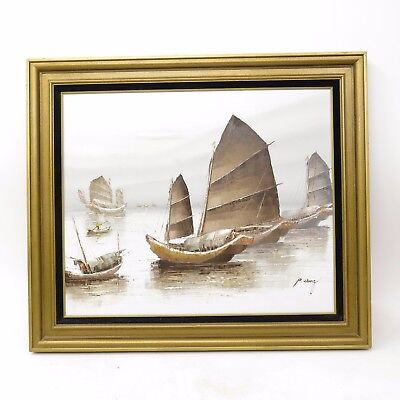 Vintage Mid Century Framed Signed P. Wong Painting Chinese Junk Art Boats Ships