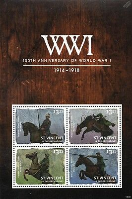 WWI War Horses: German/British/Russia Army Cavalry Stamp Sheet (2014 St Vincent)