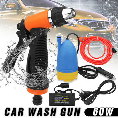 60W Portable High Pressure Car Electric Washer Water Pum Gun Hose Kit + Adapter