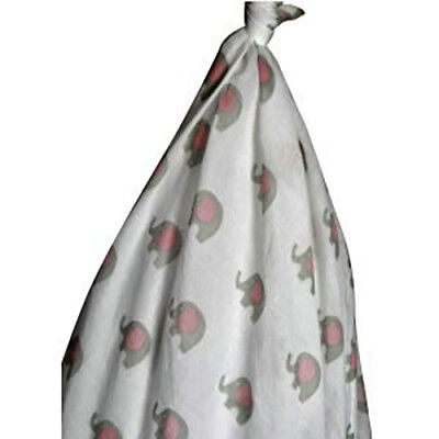 100% Cotton Baby Muslin Wrap x 2 - Pink and Pink Elephant Print