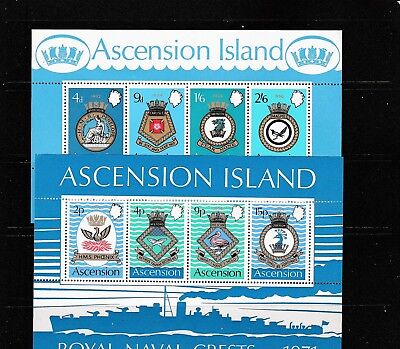 ASCENSION 1969-72 NAVY CRESTS Stamps INC MINI SHEETS all UUMOUNTED MINT Re:QM514