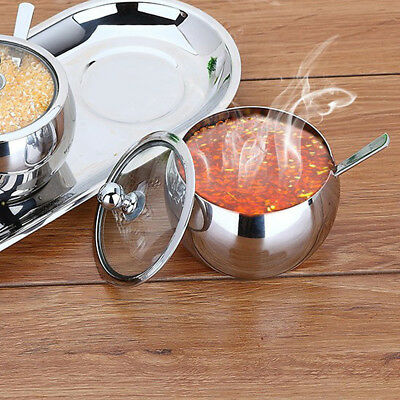 Sugar Bowl Durable Stainless Steel with Lid +Spoon Versatile Container Pot I0M7