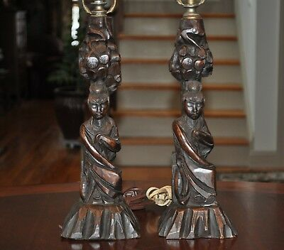Pair Carved Wood Chinese Lamps 1920's-1930's