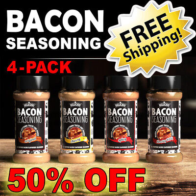 Bacon Seasoning 4-Pack Combo ~ Deliciou ~ 50% OFF FREE SHIPPING BBQ EASTER SALE!
