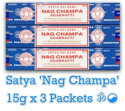 """Nag Champa"" 3 Packets (3x15gm) Satya Sai Baba Shrinivas Masala Incense Sticks ॐ"