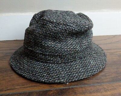 481725ae1af HH34 LL Bean Harris Tweed Bucket Hat Wool Gore Tex Lining Weather Proof  Gray Sm