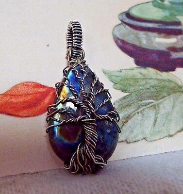 * LABRADORITE WIRE-WRAPPED TREE OF LIFE PENDANT * .925 Sterling Silver