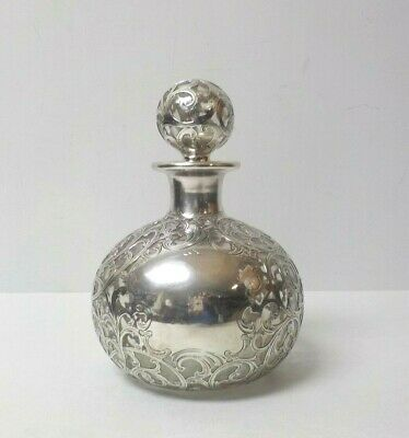"Antique Gorham Sterling Silver Overlay 7.5"" Cologne, Perfume Bottle, Decanter"