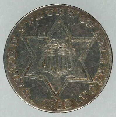 1858 Three Cent Silver 3C Vf+ Very Fine Plus Details Type 2 (7784)