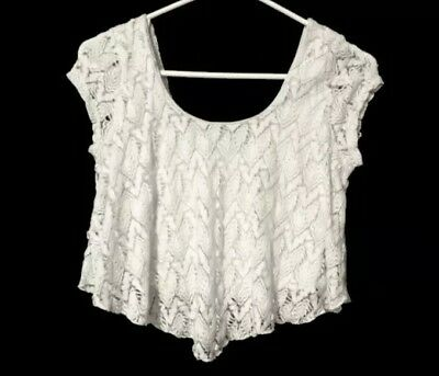 480138d0fbf Charlotte Russe White Lace Knit Crop Top Lined Sheer Short Sleeve Shirt  Blouse