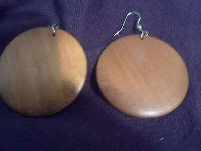 Stunning Vintage Estate HUGE Brown Wood  Earrings