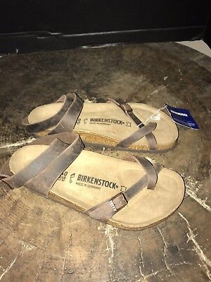 19a0c40534a Birkenstock Yara Mocca Leather Toe Loop Ankle Strap Sandals 40- US9 NEW USA
