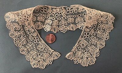 Victorian small round collar handmade Brussels Point de Gaze needle lace