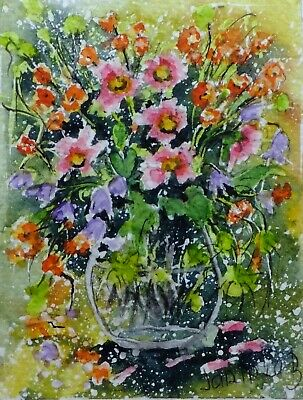 ACEO  BOUQUET of  flowers original watercolor painting picture by Europe artist