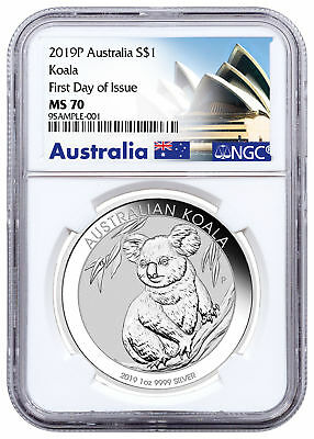 2019 P Australia 1 oz Silver Koala $1 Coin NGC MS70 FDI Exclusive Label SKU56813