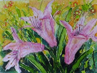 ACEO LILY flower card original watercolor painting mini picture by Europe artist