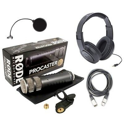 Rode Procaster Dynamic Podcasting Microphone w/ Headphones, Cable and Pop Filter