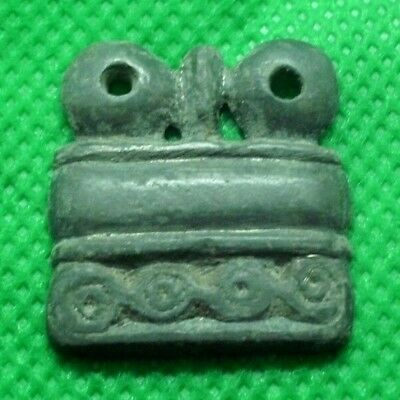Ancient Celtic Bronze Pendant Amulet With Fine Details - 300/200 Bc