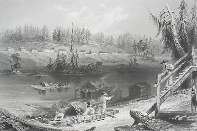 CANADA Timber Slide on Les Chats - 1840s Engraving Print by BARTLETT
