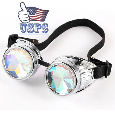 Hot Colorful Chrome Padded Kaleidoscope Goggles Crystals Glass Night Parties USA
