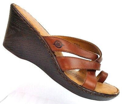 d16d8907ddea BORN CORALYN CASUAL Leather Sandals Womens Size 9M Tan Nut Wedge ...
