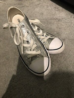 Womens Or Girls Size 3 Silver Converse Trainers, Sparkly Metallic Gorgeous