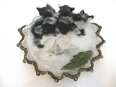 Vintage Frosted Display Dish with Hand Painted Cats Kittens and Sail Boat