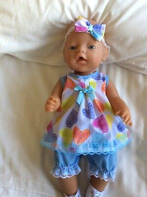 """Doll Clothes to fit 17"""" Baby Born doll ~ 3 Piece Set. Pink ~ Hearts ~ Blue"""