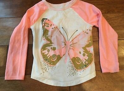 Carters toddler girl size 3T long sleeve tshirt white, pink & gold butterfly