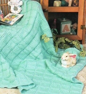 Baby knitting pattern  Textured Squares Baby BLANKET DK 8 Ply