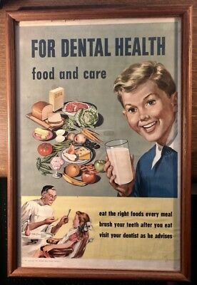National Dairy Council Poster 1951 Framed Glass 13 x 19 Promoting Dental Health