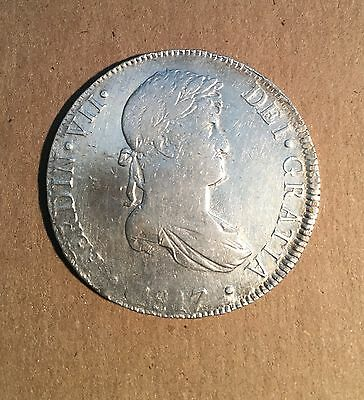 Peru Spanish Colonial Ferdinand Vii 1817-Jp 8 Reales Silver Coin, Xf+